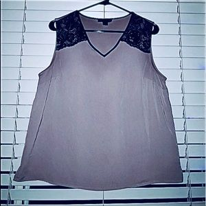 Women's Lilac and Black Lace Trim Top